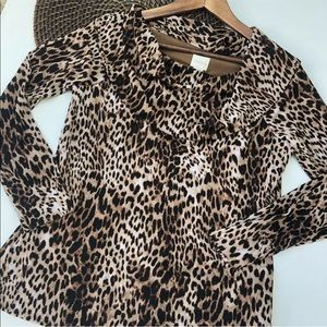 Chicos Shirt Leopard Mesh Long Sl Cowl 1 Medium